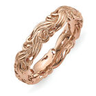 4.5mm Rose Tone Plated Sterling Silver Stackable Carved Band
