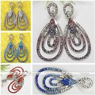 2x Fashion Womens Stainless Steel Crystal Oval Bead Dangle Ear Stud Earring Gift
