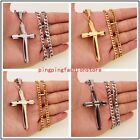 High Quality Stainless Steel Silver Gold Black Cross Pendant Men Women Necklace