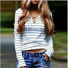 Women Stripe Long Sleeve Lace Up V Neck T-Shirt Casual Tops Blouse Size 6-20 LOT