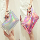 Holographic Laser Metallic Shine Handbag Messenger Bag Envelope Clutch Evening b