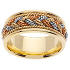 14K Tri Color Yellow White Rose Gold Rope Hand Braided Wedding 9mm (WJRL02414)