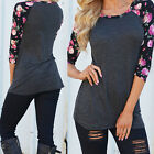 New Women Sexy Long Sleeve Print Casual Shirt Blouse Loose Cotton Tops T Shirt !