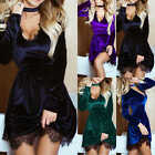 Womens Velvet Choker Neck Party Bodycon Ladies Evening Lace Cocktail Mini Dress