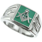 Mens Square Green Masonic Mason Silver Stainles Steel Ring
