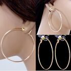 #E121 NON-PIERCED CLIP ON Big Hoop Circle COMFY EARRINGS NEW Rose Gold Plated