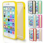Solid Hard Clear Back Silicone Bumper Rim Case Cover For iPhone 4 4S 5 5S 6 Plus