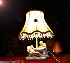 Hilarious 1950s figural plaster slip cast lamp with a 1930s luxury silk shade