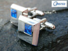 Silver Cufflinks High Quality Stainless Steel Blue Gem Birthday Thought CU004