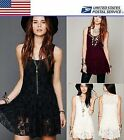 Crochet Lace Little Black White Cocktail Party Prom Tank Dress Sundress US Local