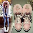 Women's Fashion Sneakers Lace Up Fur Lining Snow Winter Casual Shoes Ankle Boots