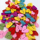 50/100pcs Mixed Wooden Buttons 2 Holes Heart Shape Sewing Crafts DIY Daily Goods