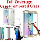 Full Cover Tempered Glass Screen Protector for Galaxy S6 S7 S8 Plus Edge + Case