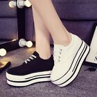 Women's Fashion Sneakers Lace Up Canvas High-top High Platform Casual Shoes
