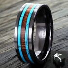 Black Hi-Tech Ceramic Men's Hawaiian Koa Wood & Turquoise Band Ring Size 9-13