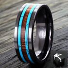 6/8mm Black Hi-Tech Ceramic Men's Hawaiian Koa Wood & Turquoise Band Ring