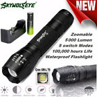 Zoomable Super Bright Tactical Cree LED Flashlight Torch Lamp+Batterie+Ladegerät