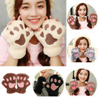 Winter Women Cute Cat Claw Paw Plush Mittens Short Fingerless Gloves Half Finger