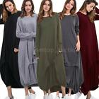 Women Lady Dress Loose Long Maxi Loose Pullover Tops Dress Plus Size Casual V3E0