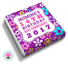 Personalised Purple Pink FLOWER Girl's 13th 16th 18th Birthday Favour Chocolates