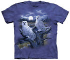 Snowy Owls In Moonlight Adult T-Shirt Tee