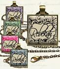 "Custom Your Name in Swirly Pattern Glass Top Pendant Necklace 24"" Rolo Chain"