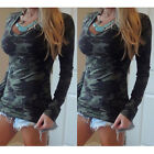 Fashion Women Long Sleeve Summer Casual Camouflage Blouse  Cotton Tops T Shirt