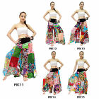 Pants PBC11-15 Cotton Patchwork Boho Hippy Gypsy Flare Wide Leg Women Trousers