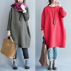 Women's Casual Long Sleeves Shirt Dress Loose Cotton Tops Blouse Jumper Pullover