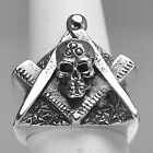 New Real STERLING SILVER Heavy free mason MASONIC RING Skull jewelry freemasonry