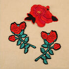1Pc Patch Applique Embroidered Badge Red Rose Flower Iron Sew on Collar Dress
