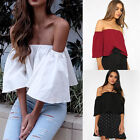Simplee Women Casual Loose Off Shoulder Ruffles White Shirt Blouse Tube Crop