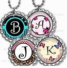 "Personalized Child's Initial Bottle Cap Necklace 24"" Chain Bottle Cap Jewelry"