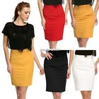Women Retro High Waisted Fitted Business Knee Long Stretch Pencil Skirt N4U8