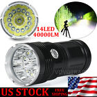 40000LM 14x XM-L T6 LED Flashlight Torch 4x 18650 Hunting Outdoor Light Lamp