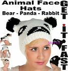 Womens Mens Knitted Winter Animal Face Hat Bear Rabbit Panda Wolly HAT