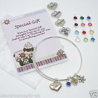 Birthstone Gem Heart Name Flower Charm Expandable Wire Bangle Bracelet One Size