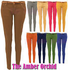 New Ladies Womens Belted Skinny Slim Fit Coloured Jeans Trousers Sizes 8-14