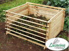 Easy-Load Wooden Garden Outdoor Compost Bin - 449/530/718/897 L - by Lacewing