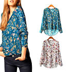 New Floral Women Ladies Summer Long Sleeve V Neck Loose Blouse Casual Shirt Tops
