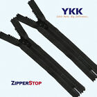 ZipperStop YKK® #5 Molded Plastic Closed Bottom 100% Non Metal ALL PLASTIC-Black