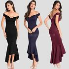 Womens New Bardot Off The Shoulder Stretch Bodycon Ladies Fishtail Dress W3M0