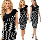 Ladies Black and White Bodycon Dress Going Out Fashion Work 8 10 12 14