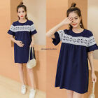 New Korean Womens Maternity Casual Cotton Linen A Line Loose Tunic Summer Dresss
