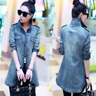 New Spring Women Fashion Frayed Long Denim Jacket Casual Windbreaker Jacket