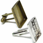 18mm SQUARE CUFFLINKS Finding Blanks For Photo Cabochon Glass Setting Bases DIY.