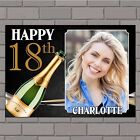 Personalised Black & Gold Champagne Happy Birthday Poster Banner N136 ANY AGE