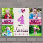 Personalised Girls Heart Balloons Happy Birthday Poster Banner N139 ANY AGE