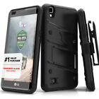 LG Tribute HD Case, LG X Style Cover Tempered Glass Screen Kickstand Holster