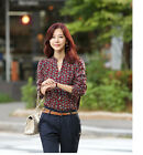 Women's Button Down Casual Long Sleeve Polka Dots T-shirt Tops Blouse